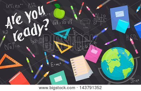 Back to school background vector illustration. Back to school concept. School supplies. Elementary school. School chalkboard.