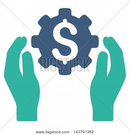 Banking Maintenance Hands icon. Vector style is bicolor flat iconic symbol with rounded angles, cobalt and cyan colors, white background.