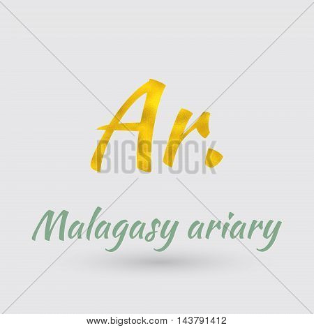 Symbol of the Madagascar Currency with Golden Texture.Vector EPS 10