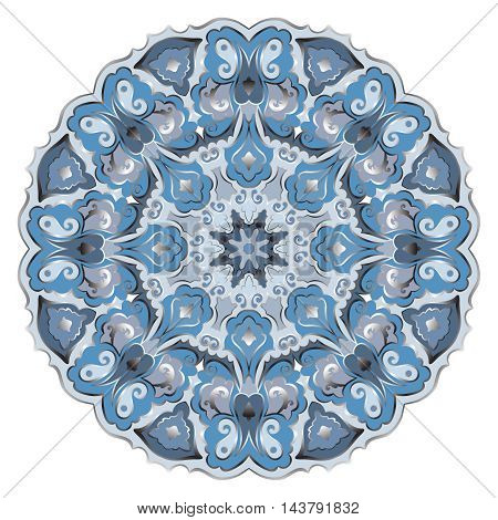 Ornate eastern mandala with silver contour. Vector round colorful ornament in blue tones isolated on a white background.