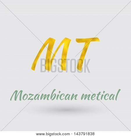 Symbol of the Mozambique Currency with Golden Texture.Vector EPS 10