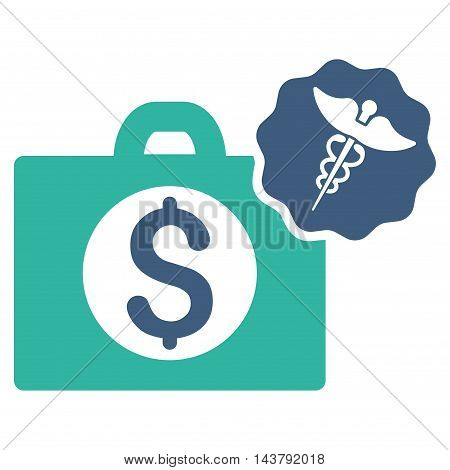 Medical Business icon. Vector style is bicolor flat iconic symbol with rounded angles, cobalt and cyan colors, white background.