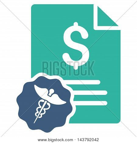 Medical Invoice icon. Vector style is bicolor flat iconic symbol with rounded angles, cobalt and cyan colors, white background.