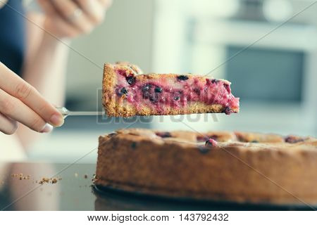 Woman holding wild berry homemade pie slice with raspberries and blueberries. Shallow depth of field.