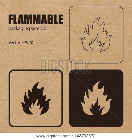 Different appearances of Flammable packaging symbol on craft paper background can be used on the box or packaging. Vector EPS 10.