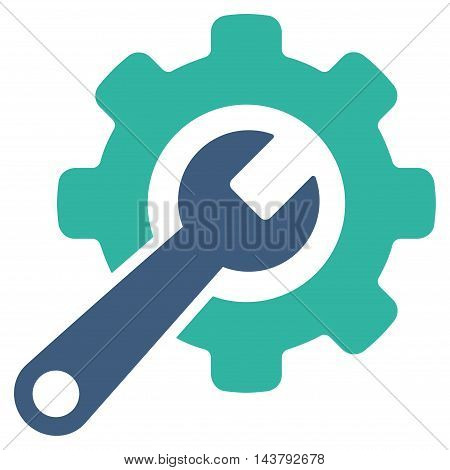 Tools icon. Vector style is bicolor flat iconic symbol with rounded angles, cobalt and cyan colors, white background.