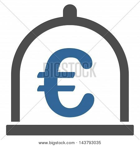 Euro Storage icon. Vector style is bicolor flat iconic symbol with rounded angles, cobalt and gray colors, white background.
