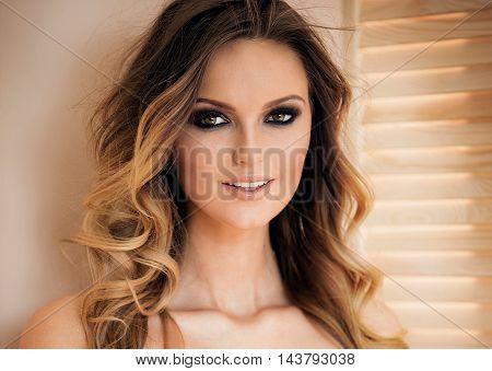 Natural Portrait Of Blonde Woman.
