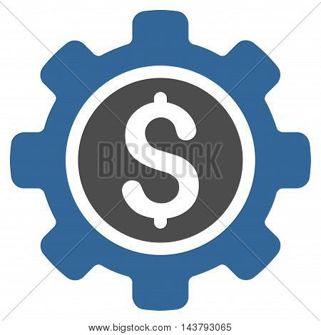 Financial Tools icon. Vector style is bicolor flat iconic symbol with rounded angles, cobalt and gray colors, white background.