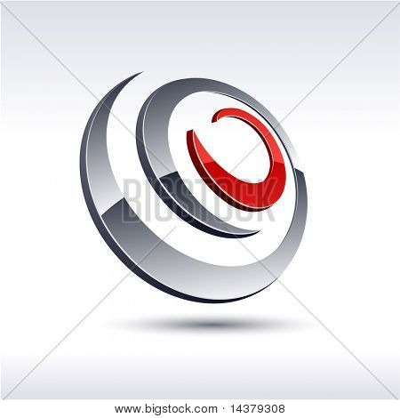 Abstract modern 3d spiral symbol. Vector.