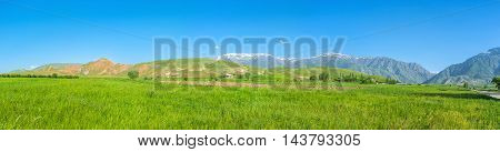 The agriculture lands of Qashqadaryo Region of Uzbekistan with amazing view on Gissar range of Pamir-Alay mountains on the background.