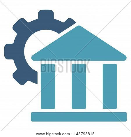 Bank Settings icon. Vector style is bicolor flat iconic symbol with rounded angles, cyan and blue colors, white background.