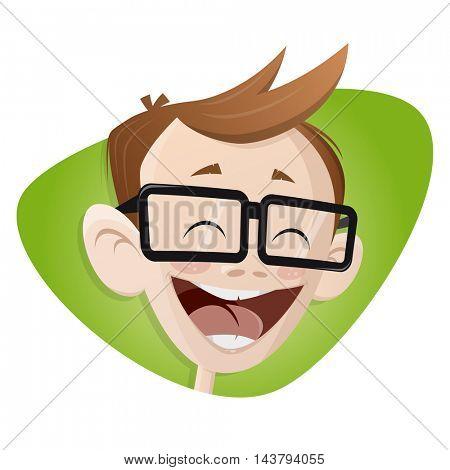 happy smiling cartoon boy