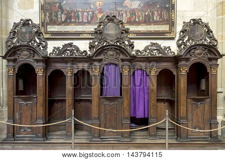 PRAGUE, CZECH REPUBLIC, JULY 7,2016: Traditional confessional inside St. Vitus Cathedral,Prague, Czech Republic.