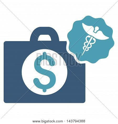 Medical Business icon. Vector style is bicolor flat iconic symbol with rounded angles, cyan and blue colors, white background.