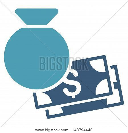 Money Bag icon. Vector style is bicolor flat iconic symbol with rounded angles, cyan and blue colors, white background.