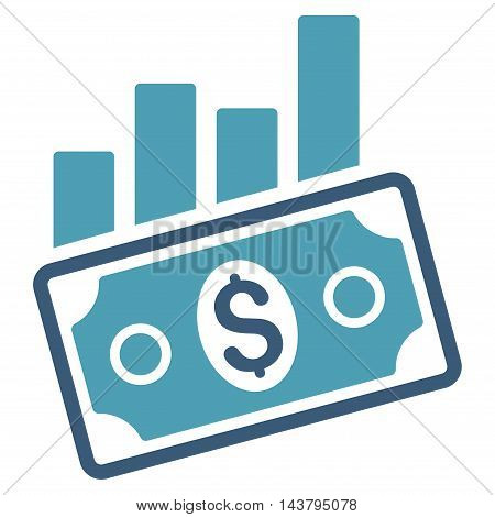 Sales Bar Chart icon. Vector style is bicolor flat iconic symbol with rounded angles, cyan and blue colors, white background.