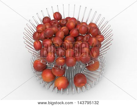 3d illustration of metal dish with nectarines and peaches. white background isolated. icon for game web. with shadow. empty without anything. juicy fruits. summer vitamins.