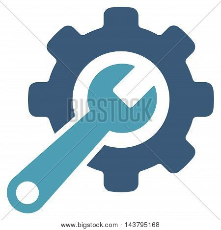 Tools icon. Vector style is bicolor flat iconic symbol with rounded angles, cyan and blue colors, white background.