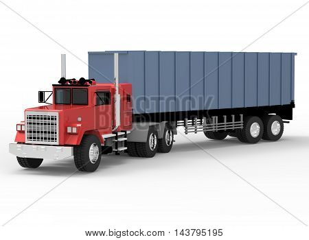3d illustration of big truck. white background isolated. icon for game web.