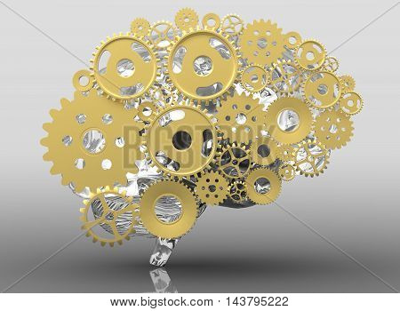 Human brain built out of cogs and gears. 3d illustration with shadow.