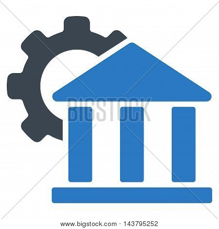 Bank Settings icon. Vector style is bicolor flat iconic symbol with rounded angles, smooth blue colors, white background.