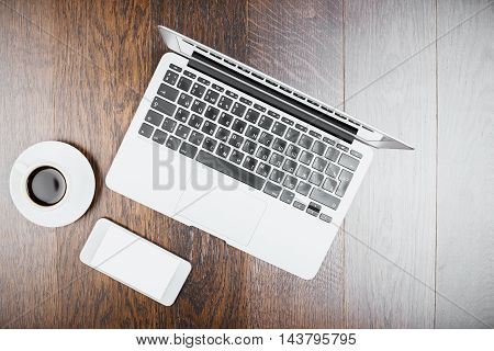 Phone, Coffee And Laptop