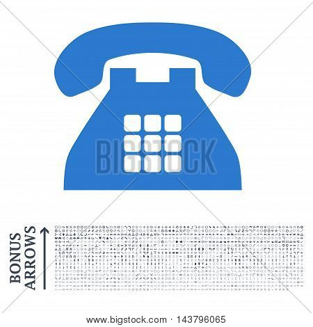 Tone Phone icon with 1200 bonus arrow and navigation pictograms. Vector illustration style is flat iconic bicolor symbols, smooth blue colors, white background.
