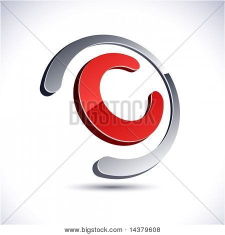 Abstract modern 3d C icon. Vector.