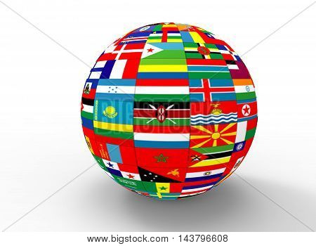 3d illustration of earth globe with flags. white background isolated. icon for game web.