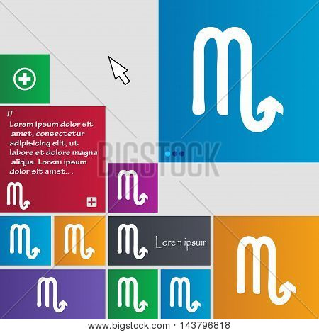 Scorpio Icon Sign. Buttons. Modern Interface Website Buttons With Cursor Pointer. Vector