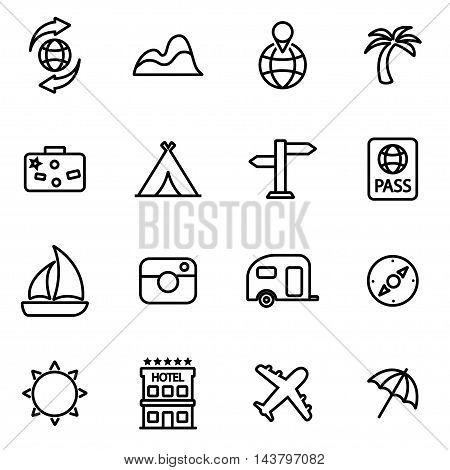 Vector line travel icon set on white background