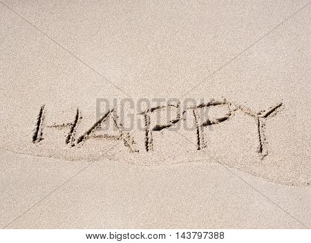The Word Happy Drawn In Beach Sand