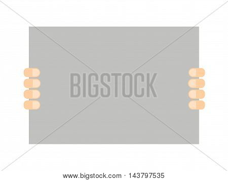 Hands holding a banner on a white background in a flat style. Fingers holding poster. Vector illustration.