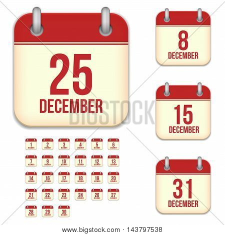 December tear-off calendar vector icons set isolated on white background. Square shape reminder sign for every day.