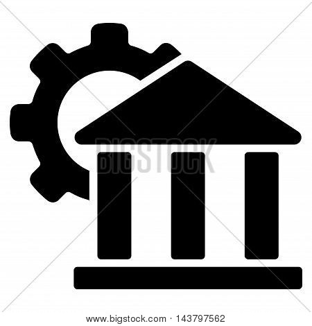 Bank Settings icon. Vector style is flat iconic symbol with rounded angles, black color, white background.