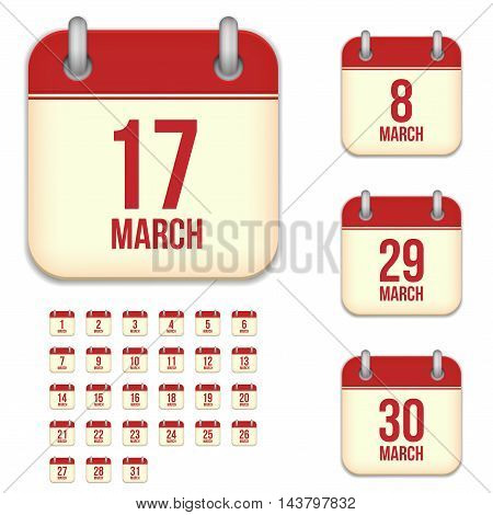 March tear-off calendar vector icons set isolated on white background. Square shape reminder sign for every day.