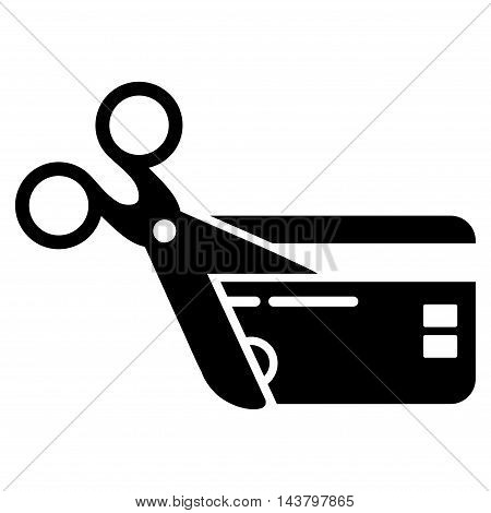 Cut Credit Card icon. Vector style is flat iconic symbol with rounded angles, black color, white background.