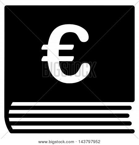 Euro Sales Book icon. Vector style is flat iconic symbol with rounded angles, black color, white background.