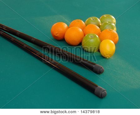 Fruits On Billiards Table