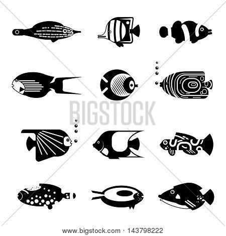 Vector flat illustration silhouette sea tropical various aquarium fish icon on isolation.