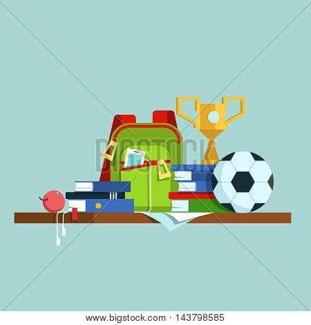 Vector illustration group of school supplies isolated