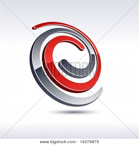 Abstract modern 3d knot emblem. Vector.
