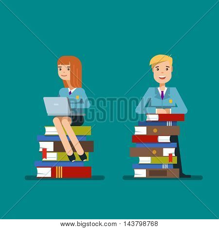 Student sitting on a stack of book with laptop isolated on blue background. Vector illustration flat design concept education