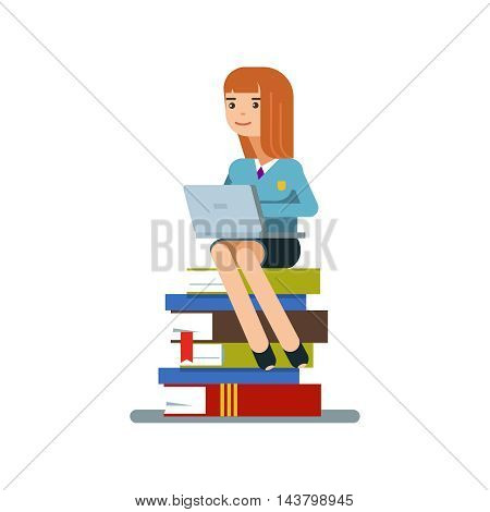 Young teen woman or student sitting on a stack of book with laptop isolated on white background. Vector illustration flat design