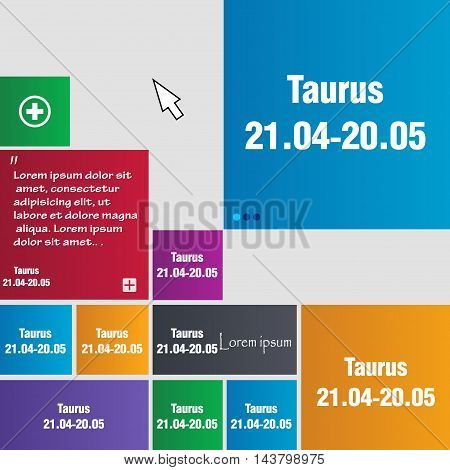 Taurus Icon Sign. Buttons. Modern Interface Website Buttons With Cursor Pointer. Vector