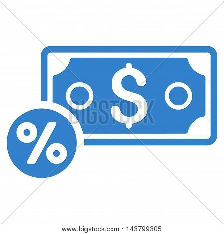 Banknote Percent icon. Vector style is flat iconic symbol with rounded angles, cobalt color, white background.