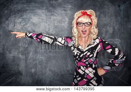 Angry Screaming Retro Teacher Pointing Out
