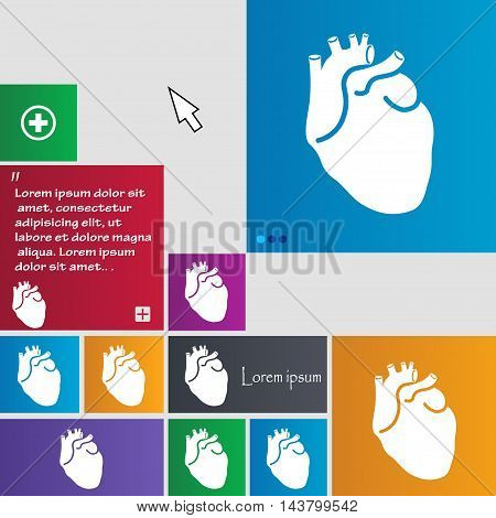 Human Heart Icon Sign. Buttons. Modern Interface Website Buttons With Cursor Pointer. Vector