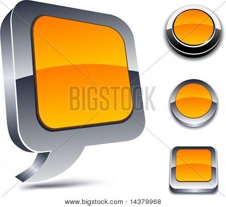 Metallic 3d vibrant orange icons.